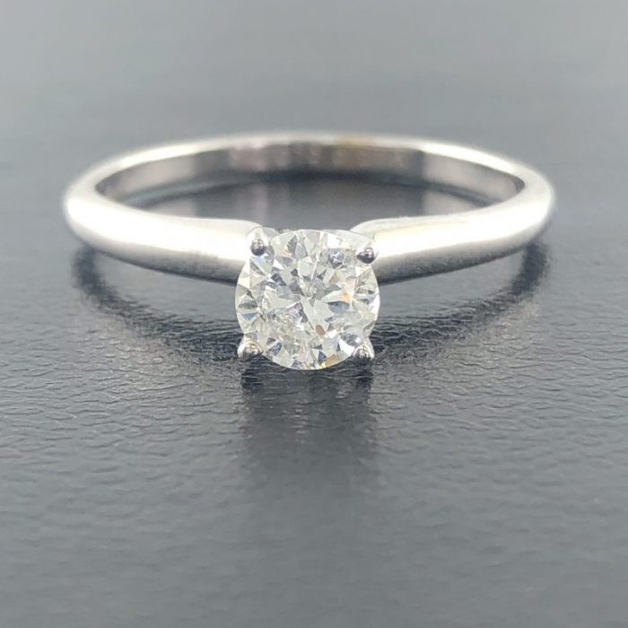 14 WHITE GOLD SOLITAIRE ENGAGEMENT RING/0.51CT TDW/SIZE 6""