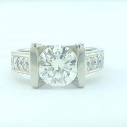 "CERTIFIED DIAMOND ENGAGEMENT RING/14K WHITE GOLD/8.8G/2.30 CT TDW/SIZE 6.50"""