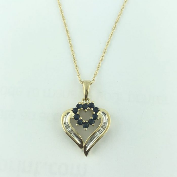 """14K YELLOW GOLD NECKLACE WITH HEART PENDANT/2.8G/SIZE 18"""""""