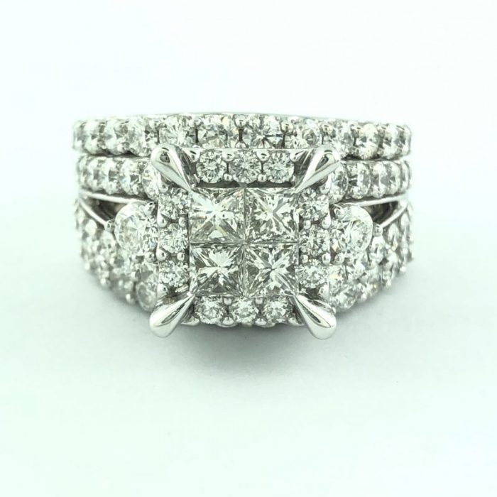 14K WHITE GOLD BRIDAL SET/12.8G/4.00 CARAT TDW/SIZE8.50""