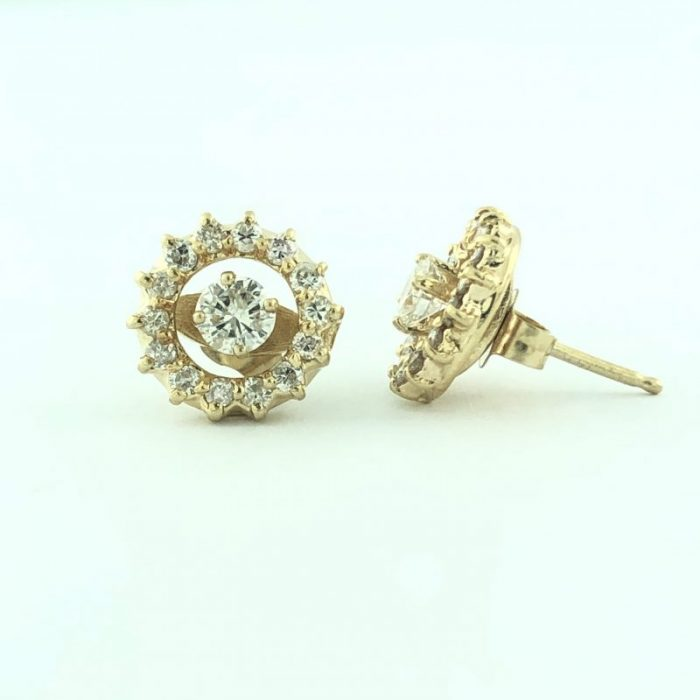 14K YELLOW GOLD EARRINGS/0.50CT TDW/COLOR:G/CLARITY:SI/2.0G