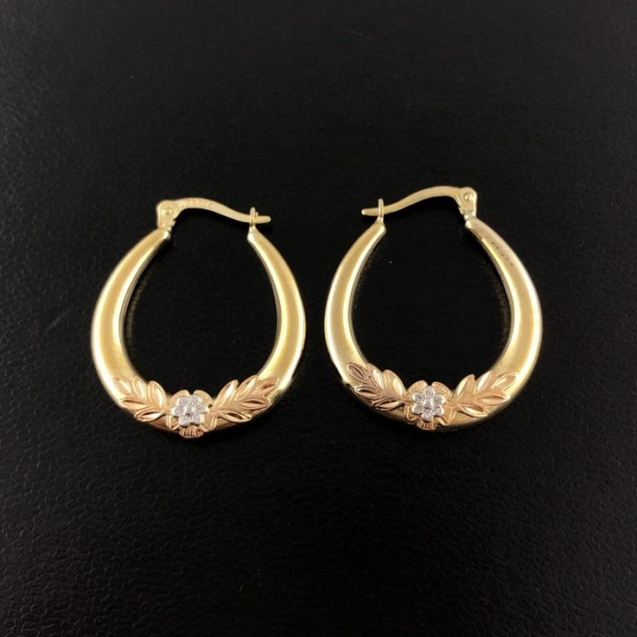 14K YELLOW GOLD EARRINGS/3.3G