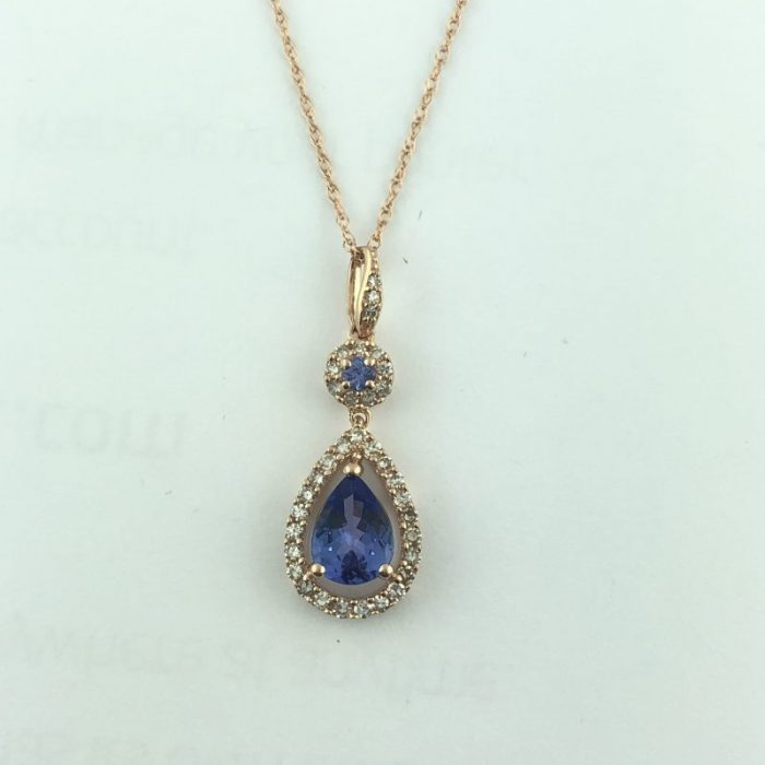 14K ROSE GOLD NECKLACE WITH BLUE SAPPHIRE PENDANT/2.5G/SIZE 18""