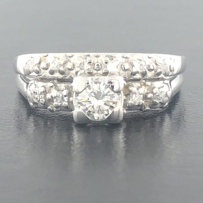 14K WHITE GOLD BRIDAL SET/4.0G/0.75CT TDW/7.25""