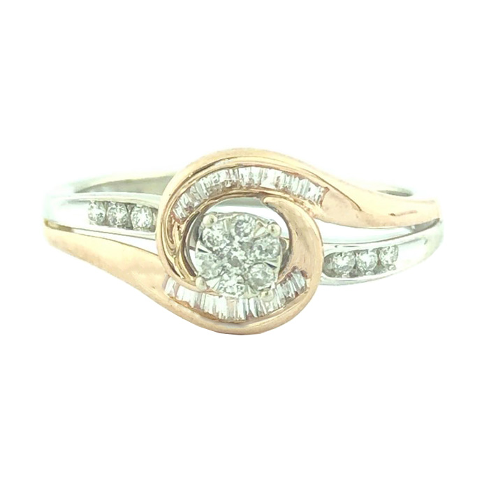 """10K ROSE GOLD AND WHITE GOLD ENGAGEMENT RING