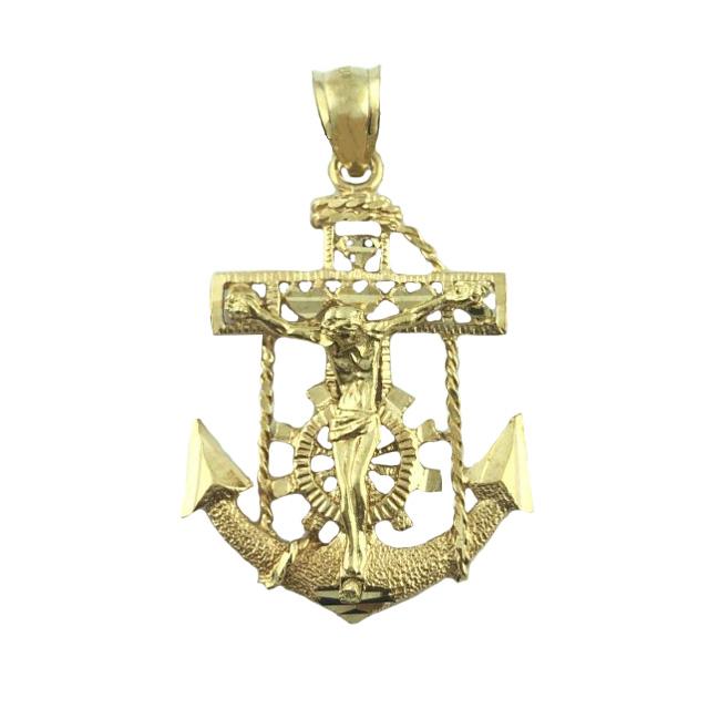 10K YELLOW GOLD ANCHOR HOPE FAITH CROSS CHRISTIAN CRUCIFIX PENDANT/4.9G