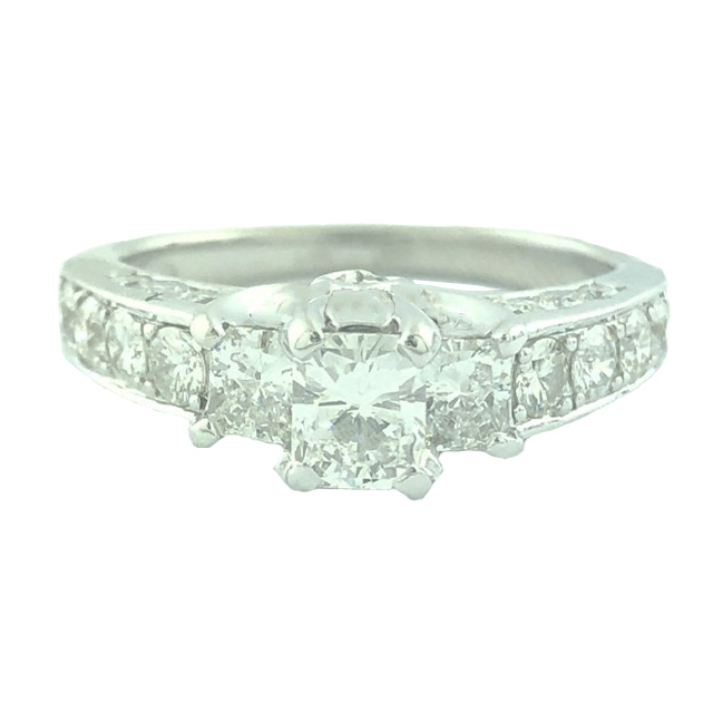 GSL CERTIFIED DIAMOND ENGAGEMENT RING- 14K WHITE GOLD| 0.48CT(C)| 1.59CT TDW| SIZE 5""
