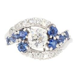 "ANTIQUE ENGAGEMENT RING- PLATINUM| 1.00CT(C) OLD MINE CUT DIAMOND| SIDE BLUE SAPPHIRE| SIZE 8.75"""