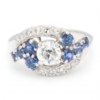 "ANTIQUE ENGAGEMENT RING- PLATINUM 1CT(C) OLD MINE CUT DIAMOND  SIDE BLUE SAPPHIRE  SIZE 8.75"""