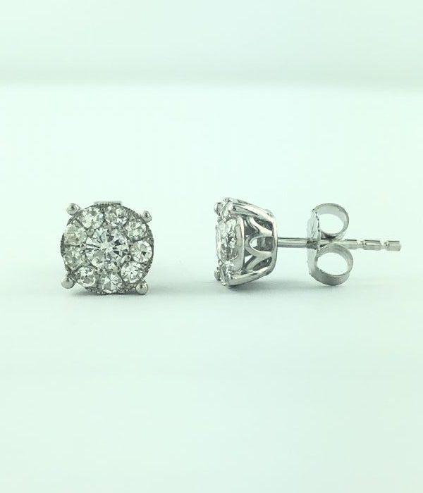 14K WHITE GOLD AND 1.00 CARAT DIAMOND EARRRINGS/1.9G
