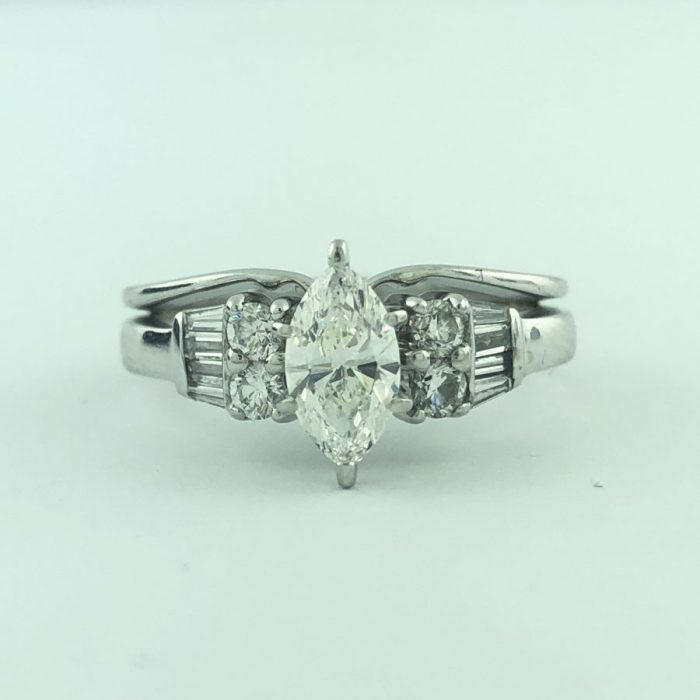 """CERTIFIED DIAMOND BRIDAL SET - MARQUISE BRILL CUT/0.86CT TDW/ 14K WHITE GOLD/4.50G/SIZE 5.50"""""""