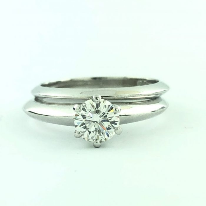 """SOLITAIRE DIAMOND RING WITH WEDDING BAND IN PLATINUM/0.55CT TDW/6.1G/5.25"""""""