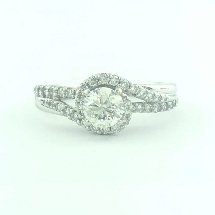 "14K WHITE GOLDENGAGEMENT RING/4.5G/0.60CT CENTER DIAMOND/1.00CT TOTAL DIAMOND/SIZE 7"""