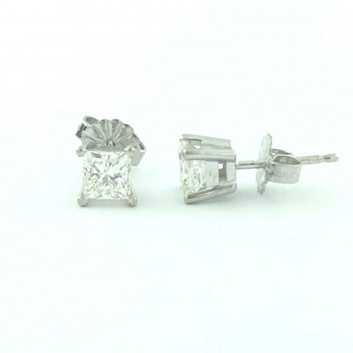 14K WHITE GOLD DIAMOND STUD EARRINGS/1.00CT TDW/1.1G