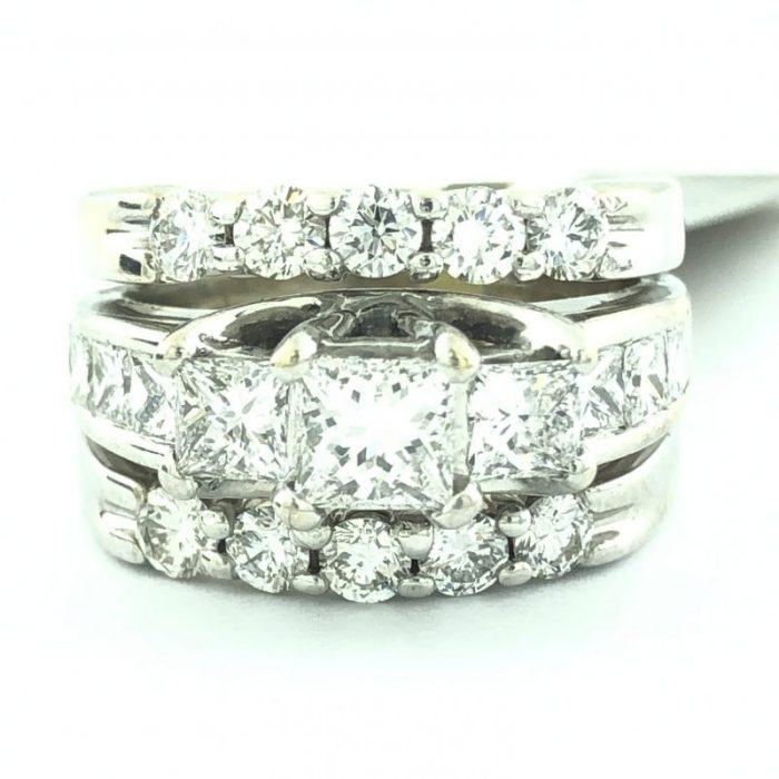 "DIAMOND BRIDAL SET 14K WHITE GOLD/11G/03C TDW/SIZE 6.25"""