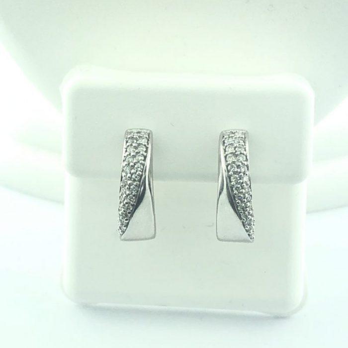 14K WHITE GOLD DIAMOND EARRINGS/4.8G/0.75CT TDW