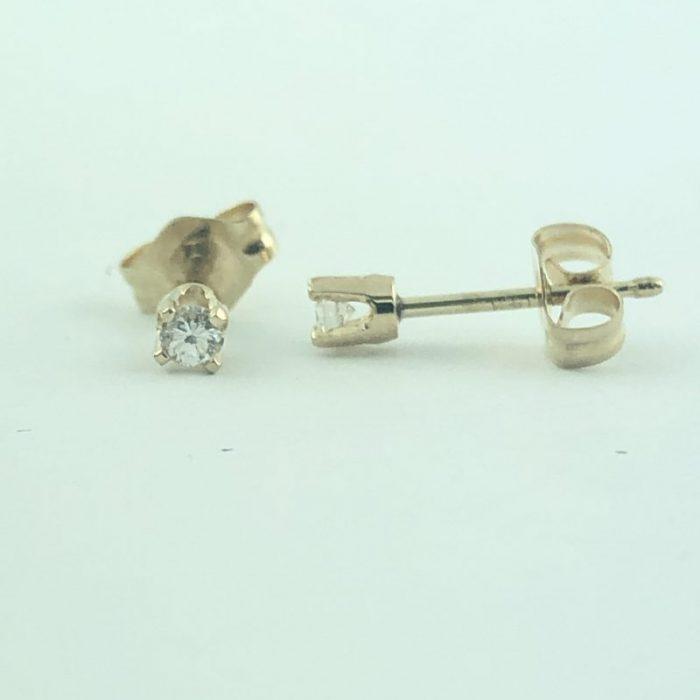 DIAMOND EARRING STUDS 14K YELLOW GOLD