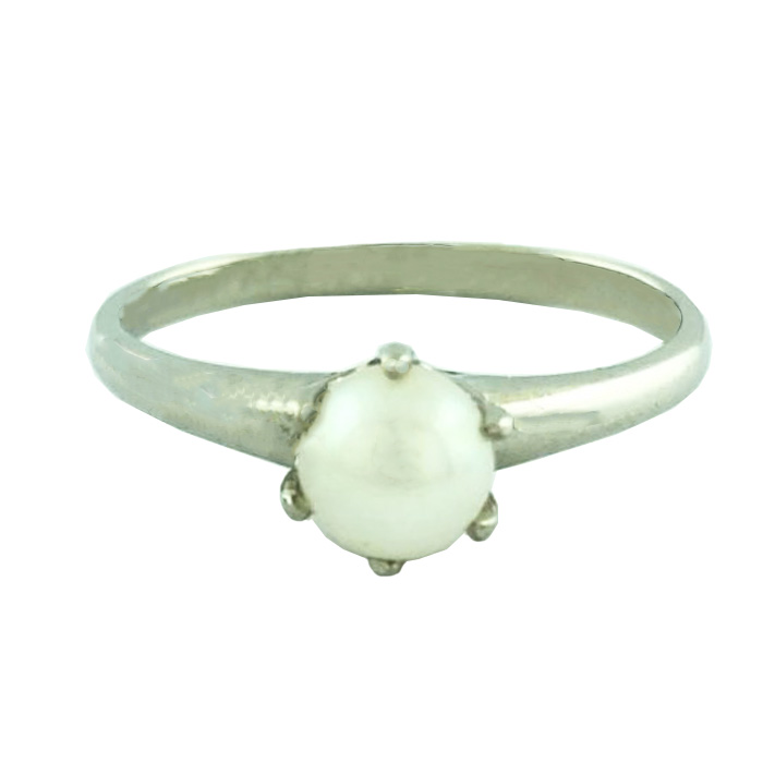 """10K WHITE GOLD PEARL RING