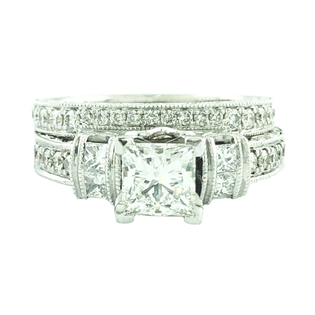 IGI CERTIFIED DIAMOND BRIDAL SET- PLATINUM/14K WHITE GOLD|0.99CT(C)| SIZE 6.75""