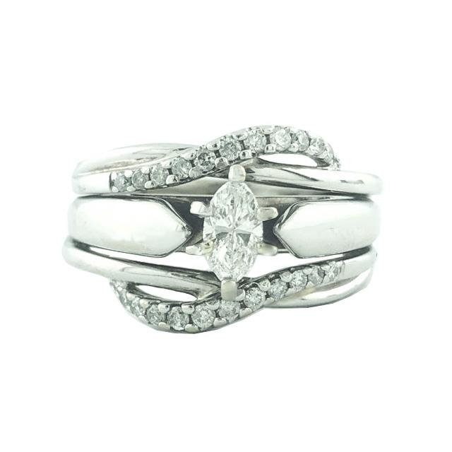 "GSI CERTIFIED DIAMOND BRIDAL SET | 14K WHITE GOLD |0.31CT CENTER| 0.60CT TDW| SIZE 5.50"""