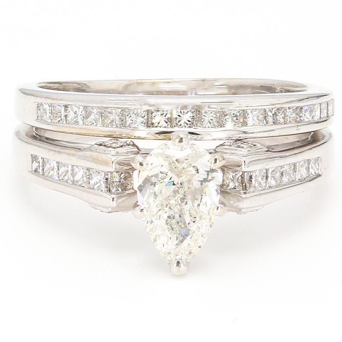 "14K WHITE GOLD DIAMOND BRIDAL SET/6.6G/1.00CT CENTER DIAMOND/2.00CT TOTAL DIAMOND/SIZE 8"""