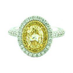 "FANCY NATURAL LIGHT YELLOW DIAMOND ENGAGEMENT RING- 18K WHITE GOLD| 1.00CT(C)| 1.43CT TDW| SIZE 5"""