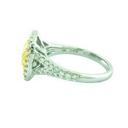 "GIA CERTIFIED FANCY NATURAL LIGHT YELLOW DIAMOND ENGAGEMENT RING-18K| 1.50CT(C)| 2.07CT TDW| SIZE 5.75"""