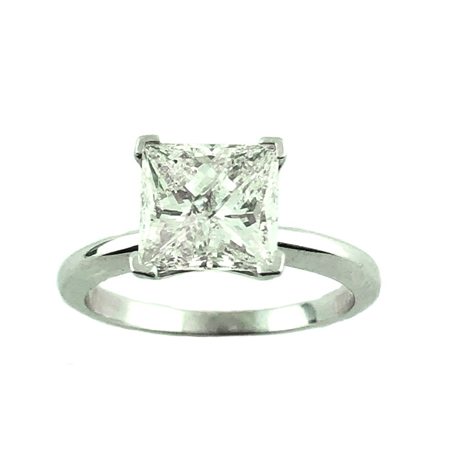 SOLITAIRE DIAMOND ENGAGEMENT RING 14K WHITE GOLD 2.75CT TDW| SIZE 6.75""
