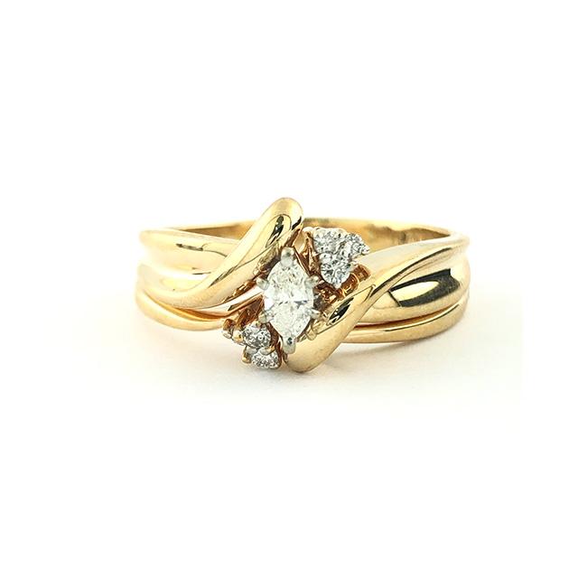"14K YELLOW GOLD BRIDAL SET MARQUISE DIAMOND SETTING/7.0G/SIZE 10"""