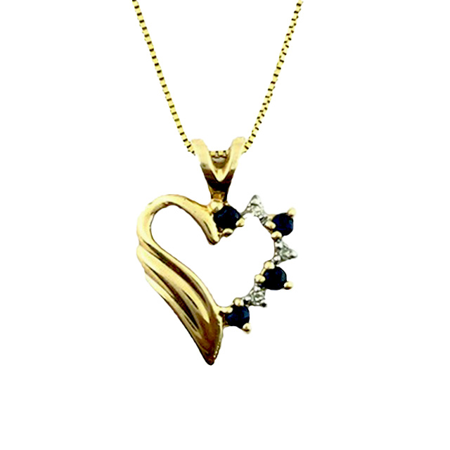 14K YELLOW GOLD BOX NECKLACE & HEART CHARM WITH BLUE SAPPHIRE AND DIAMONDS/2.5G/SIZE 21""