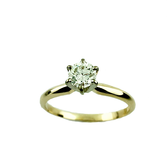 """SOLITAIRE DIAMOND ENGAGEMENT RING 14K YELLOW GOLD