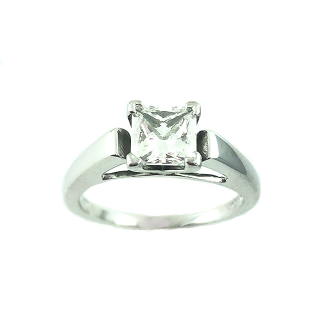 IGI CERTIFIED SOLITAIRE DIAMOND ENGAGEMENT RING- 14K WHITE GOLD|0.99CT TDW| SIZE 4.25""