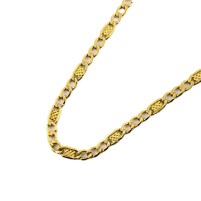 """14K YELLOW GOLD FIGARO NECKLACE/3.7G/SIZE 22"""""""