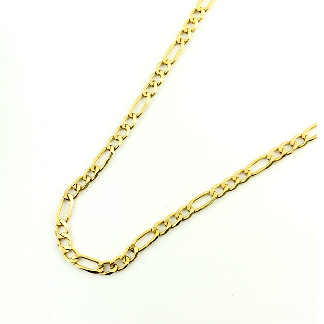 """14K YELLOW GOLD FIGARO NECKLACE/4.8G/SIZE 20"""""""