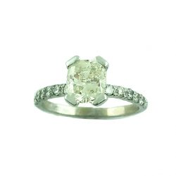 """SOLITAIRE DIAMOND ENGAGEMENT RING EMERALD CUT 14K WHITE GOLD/2.5G/SIZE 6.50"""""""