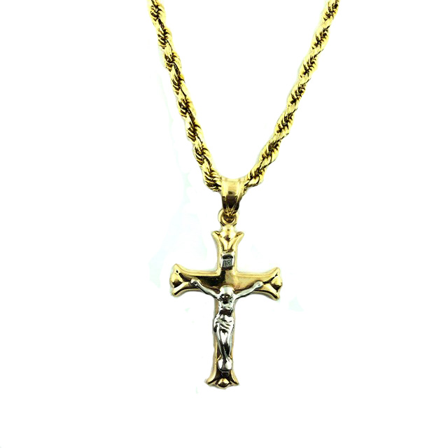 """10K YELLOW GOLD ROPE NECKLACE WITH CROSS CHARM/3.9G/SIZE 23"""""""