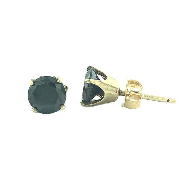BLACK DIAMOND EARRING RINGS 14K YELLOW GOLD/1.4G