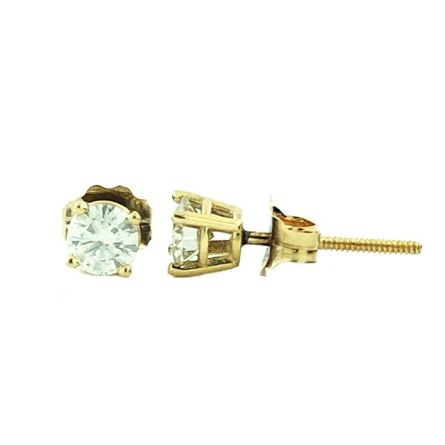 14K YELLOW GOLD DIAMOND STUDS 1.00CT TDW
