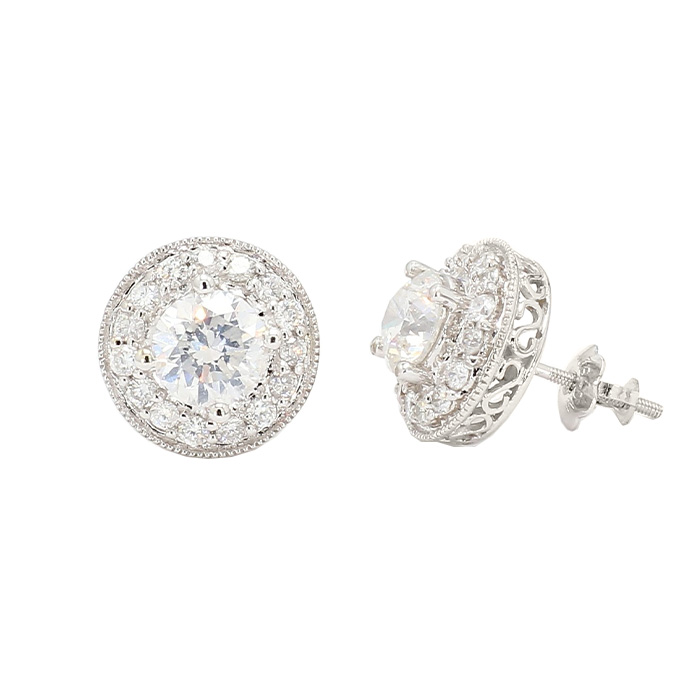 DIAMOND EARRINGS STUDS- 14K WHITE GOLD| 4.3G| 2.00CT TDW