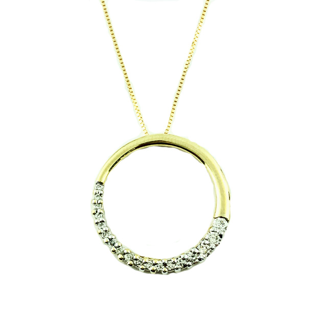 """14K YELLOW GOLD NECKLACE WITH DIAMOND PENDANT/SIZE 18"""""""