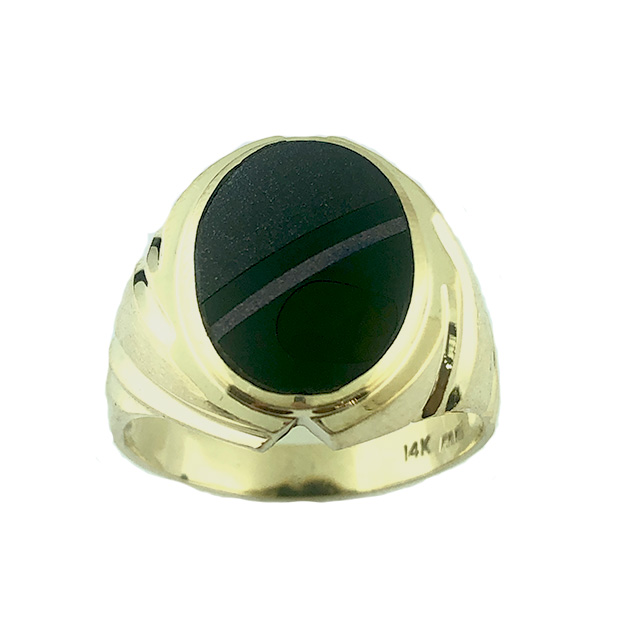 14K YELLOW GOLD MENS RING/8.5G/12.75""