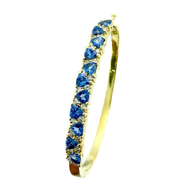 14K YELLOW GOLD BANGLE BRACELET 1CT DIAMOND AND 3CT TANZANITE /18.3G