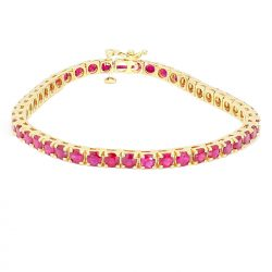 RUBY BRACELET-14K YELLOW GOLD| 3.00CT RUBY| LENGTH 7""