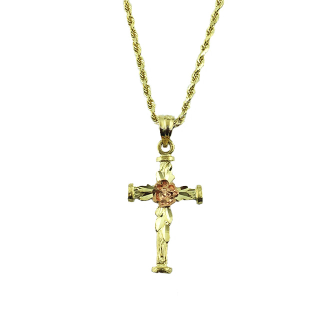 """14K YELLOW GOLD ROPE NECKLACE WITH CROSS PENDANT/5.1G/SIZE 18"""""""