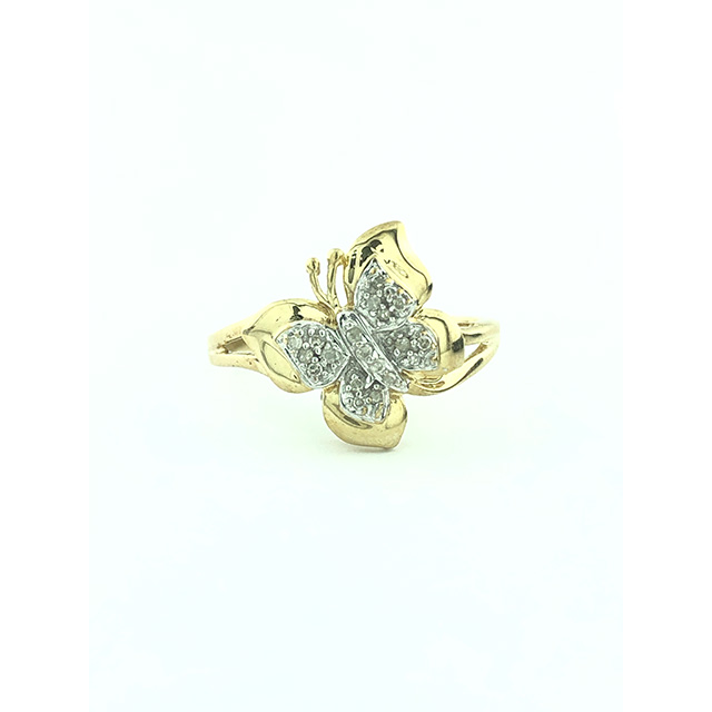 10K YELLOW GOLD BUTTERFLY RING/3.3G/SIZE 11""
