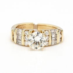 14K YELLOW GOLD ENGAGEMENT RING| 5.2G| 1.00CT(C)| 1.50 CT TDW| SIZE 5.50""