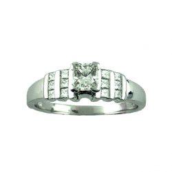 "18K WHITE GOLD DIAMOND ENGAGEMENT RING |0.75CT TDW |SIZE 8"""