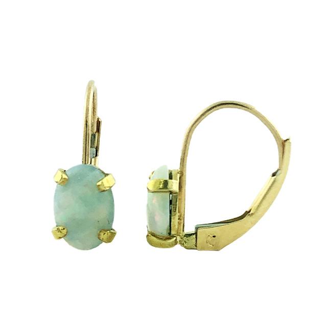 OPAL EARRINGS 14K YELLOW GOLD  1.1G