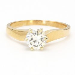 """SOLITAIRE ENGAGEMENT RING 14K YELLOW GOLD