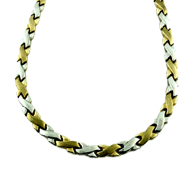 """10K YELLOW/WHITE GOLD NECKLACE  9.4G SIZE 17"""""""